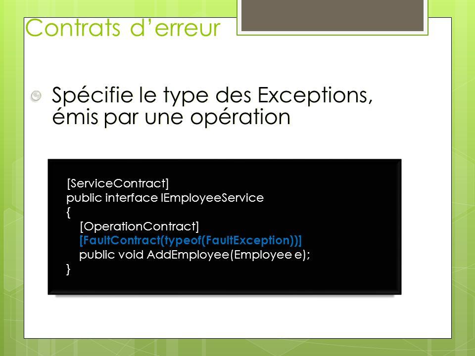 Contrats d'erreur Spécifie le type des Exceptions, émis par une opération. [ServiceContract] public interface IEmployeeService.